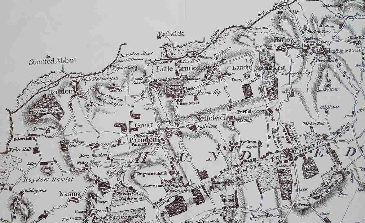 Map of Harlow and Great Parndon Area circa 1777