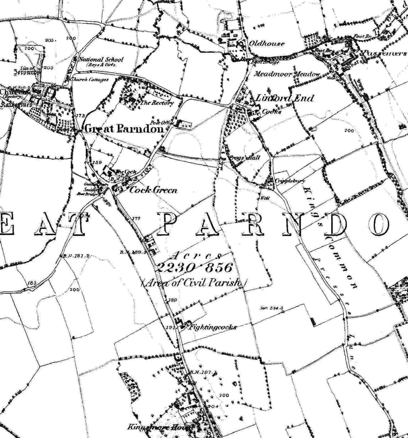 Map of Great Parndon Area circa 1884