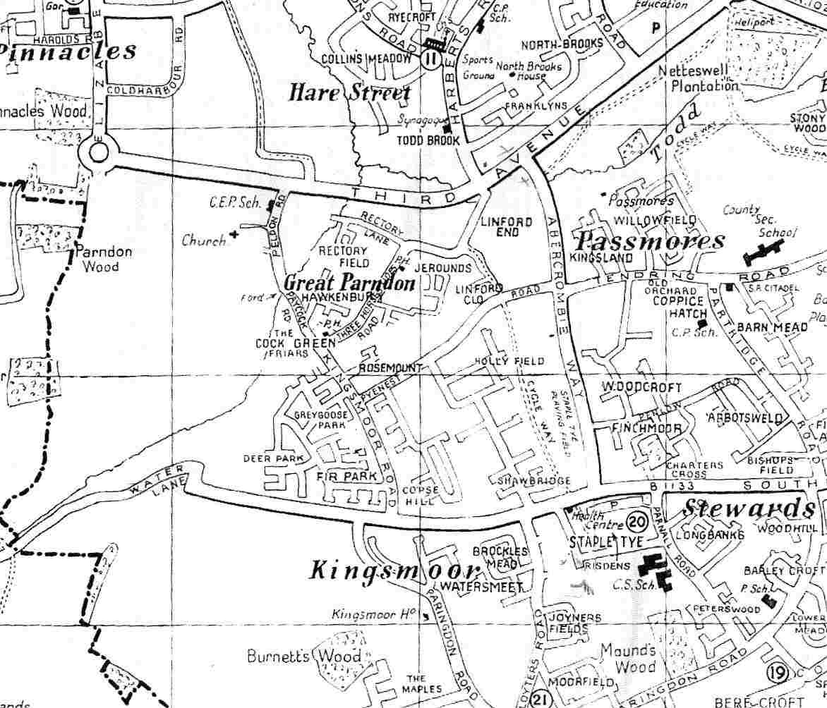 Map of Great Parndon Area circa 1970